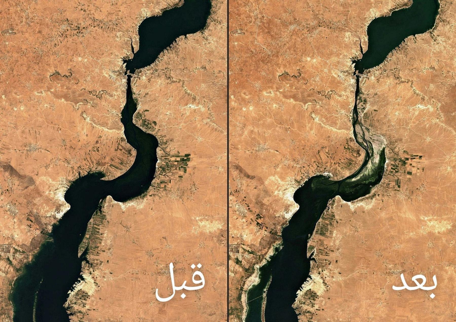صور اقمار صناعية تظهر جفاف نهر الفرات